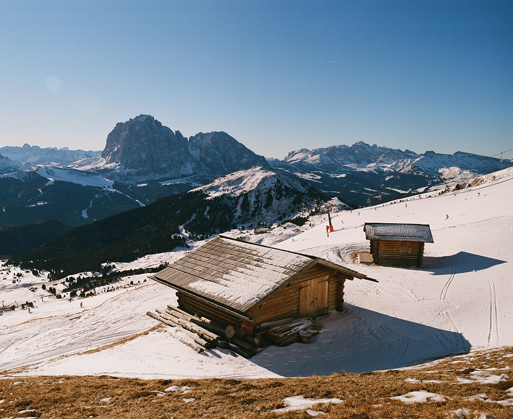 Hiking Dolomites in winter