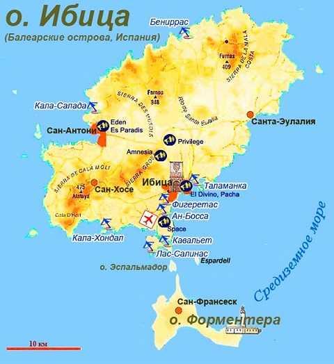 Отдых на островах Испании, карта Ибицы