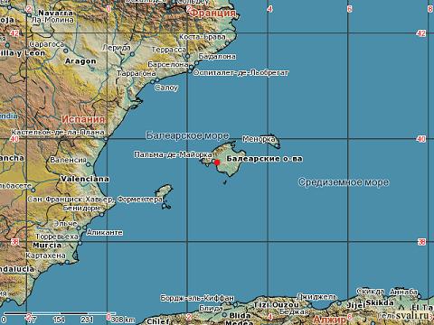 Отдых на островах Испании, расположение Балеарских островов на карте