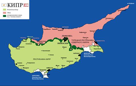 Отдых на Кипре, цены - Кипр, карта с зеленой линией (буферная зона)