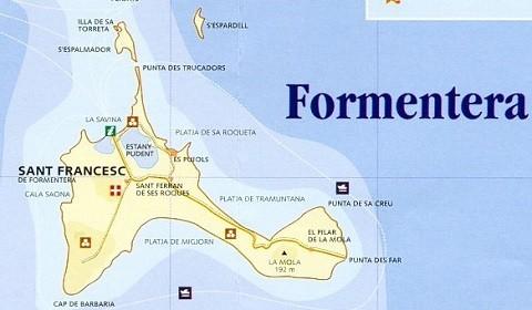 Отдых на островах Испании, карта острова Форментера