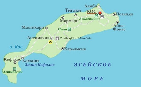 Отдых на острове Кос, карта острова
