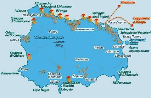Отдых на острове Искья, карта острова