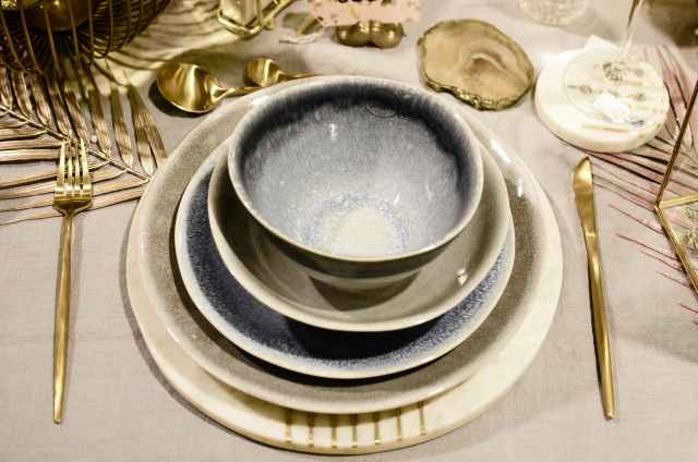 served table with dishware during festive occasion