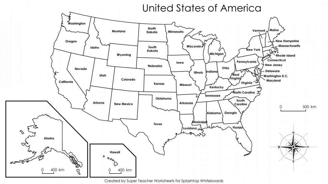 26 Unique Map Of Usa With States Labeled