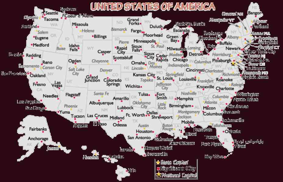 Map Of The United States Major Cities   Holiday Map Q   HolidayMapQ     Map Of The United States Major Cities