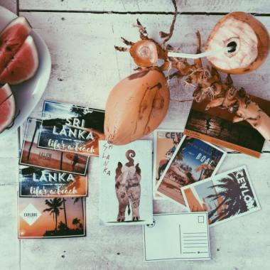Photo for the blog post about the best places in Sri Lanka. Postcards, coconut, watermelon, pictures.