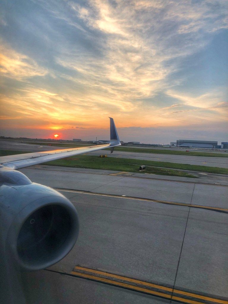 Sunset over United Wing