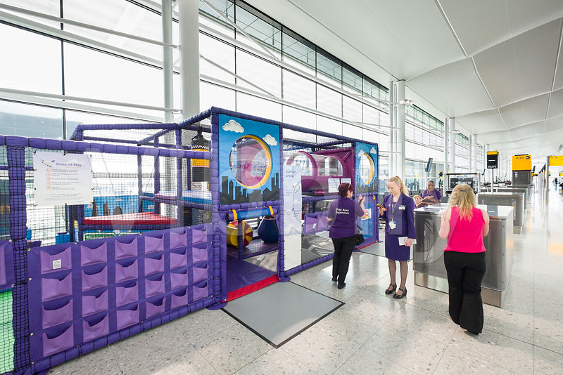 children's play structure in Terminal 2 departure lounge on the first day of operation of the new Queens's Terminal, Heathrow Airport, Hillingdon, London, England, United Kingdom