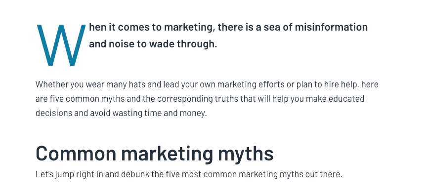 Summary of the article Five Common Marketing Myths and the Truths You Need to Know on the G2 Learning Hub