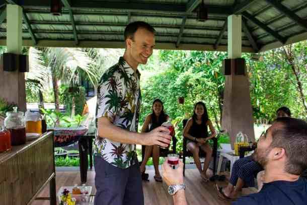 Handing Kombucha out at an event