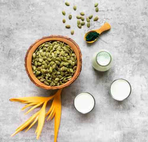 pumpkin seed milk and ingredients