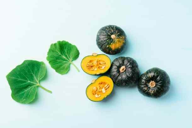 Japanese pumpkins and leaf