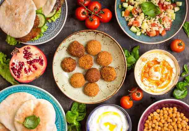 falafel party with lots of side dishes