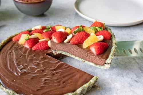 raw chocolate cheesecake slice freshly cut ready to eat