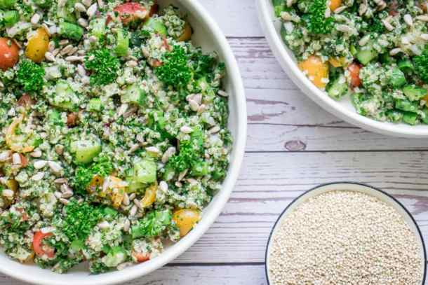 2 bowls of quinoa tabbouleh for meal prep