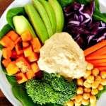 Nourishing foods, hummus, chickpeas, avocado, brocolli