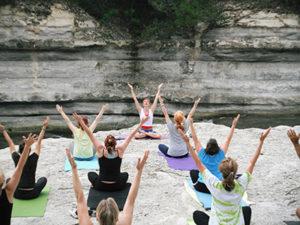 happy people doing yoga