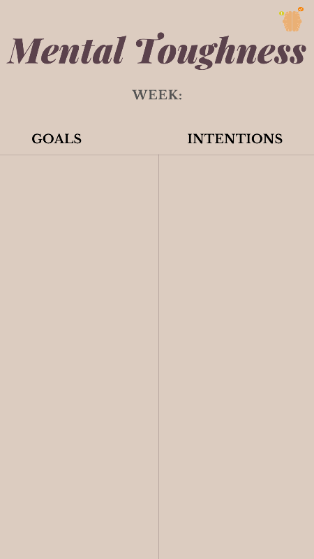 weekly mental toughness goals and intentions