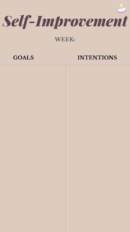 weekly self-improvement goals and intentions