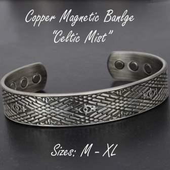 Magnetic Therapy Bracelet for Men Copper Bracelet for Arthritis Antique Silver Toned - Celtic Mist