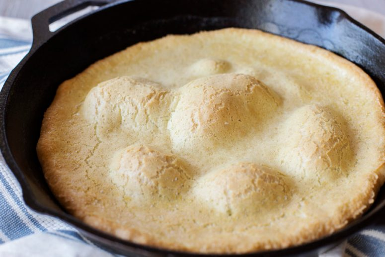 This gluten and dairy free Dutch baby is the perfect breakfast for your whole family! With just six simple ingredients, anyone can make it in a flash!