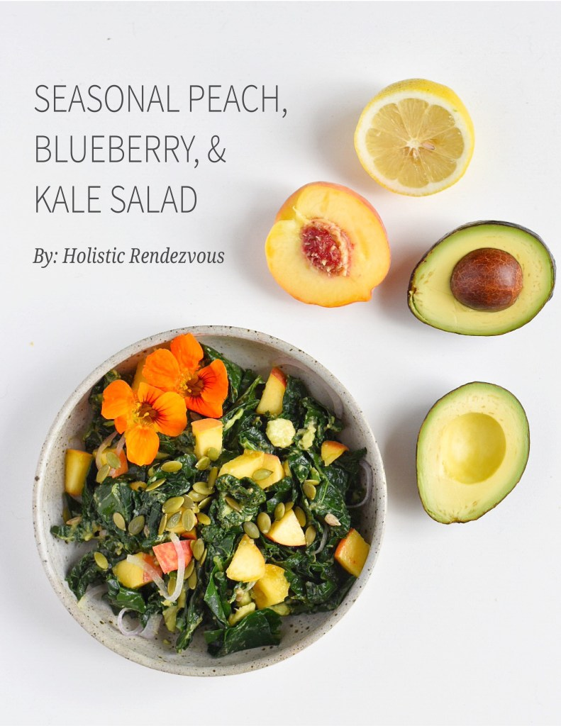 Seasonal Peach, Blueberry, and Kale Salad
