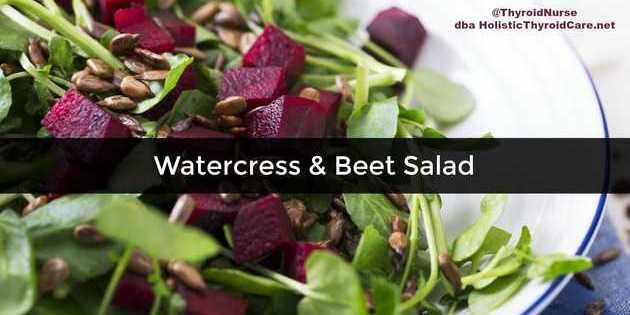 Watercress Beet Salad on White Plate