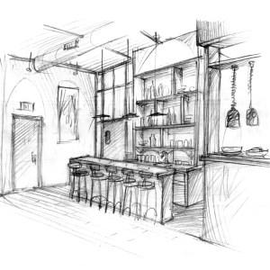 Design Sketch for Restaurant Bar Concept