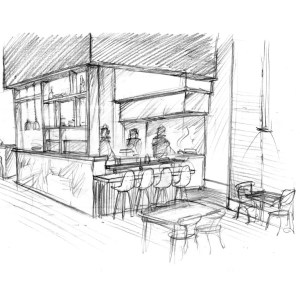 Rough Design Sketch of Restaurant Chef's Table