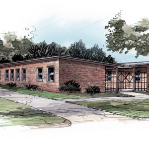Full Color Sketch Rendering of Medical Clinic