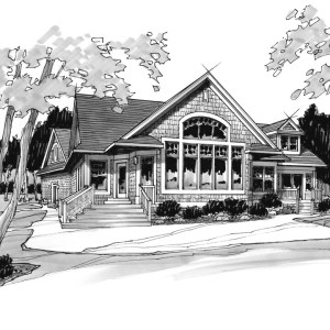 Marker Shaded Line Illustration of Parade Home