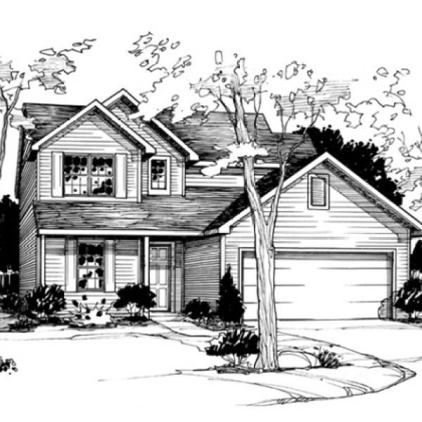 Line Illustration of Model Home