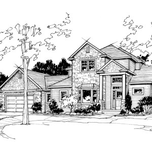 Perspective Illustration of Custom Home