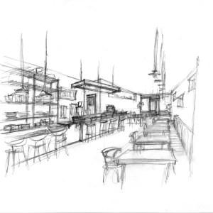 Rough Preliminary Concept Sketch of Bar