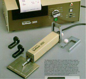 A profilometer is an instrument that measures the actual metal surface by dragging a stylus across the metal a predetermined length, measuring the distance between the peaks and valleys of the surface.