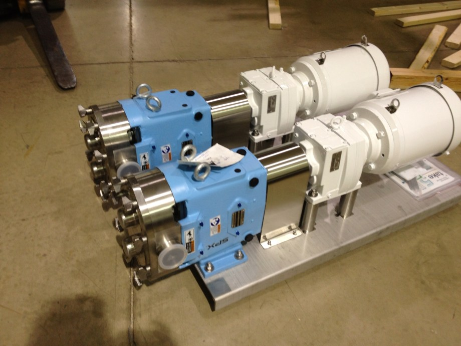 Waukesha Sanitary PD pumps with Gear Reducer and C Face Motors