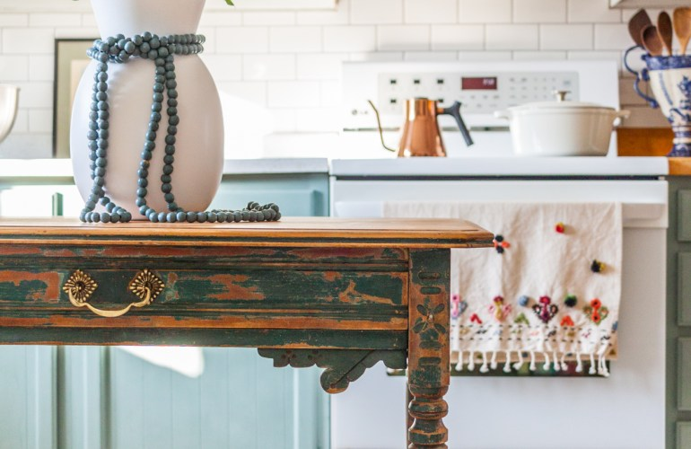 How To Repurpose An Antique Table As A Kitchen Island Thrift Shop Challenge Holland Avenue Home