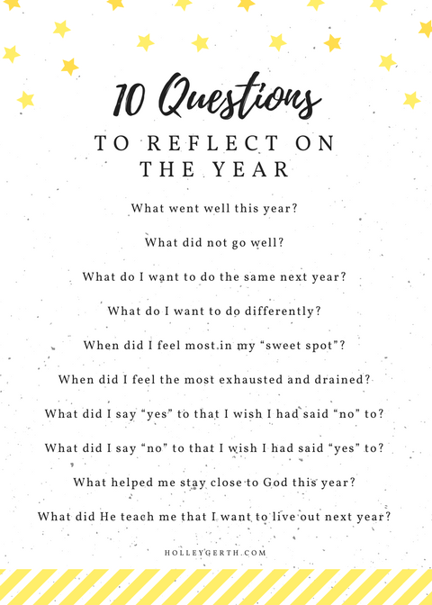 10 questions to reflect on the year (free print)