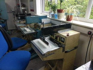 Welding machines for buttons, sewing details, all from the original factory