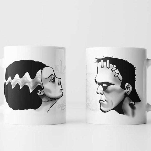 Frankenstein and Bride Mug Set