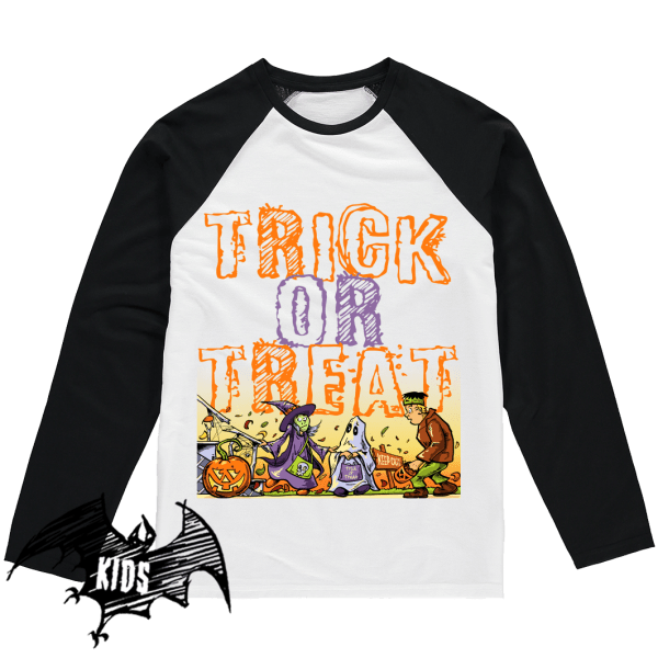 Trick or Treat Kids Baseball T-Shirt