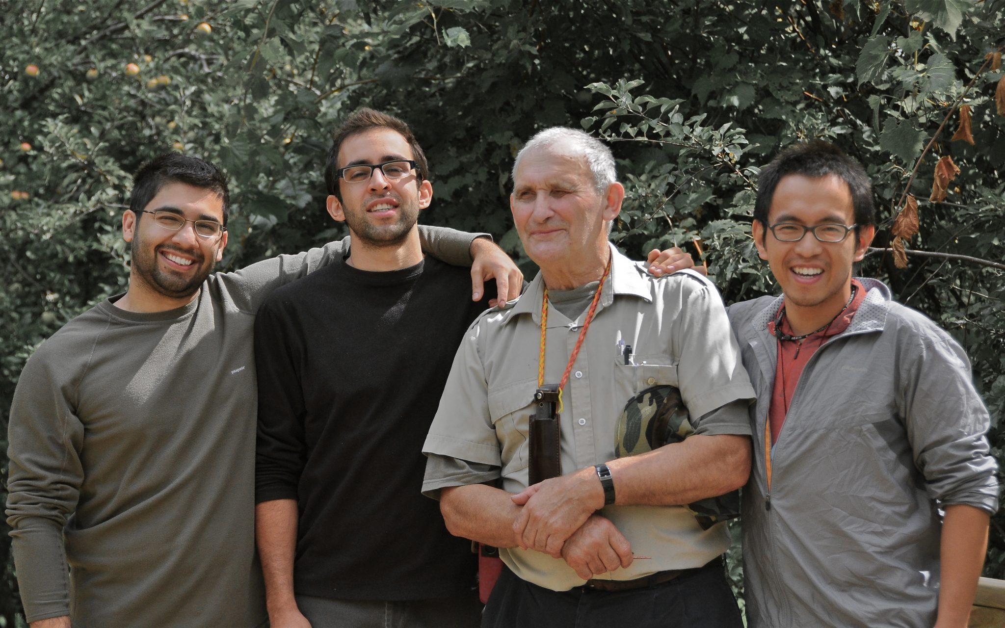 Three dads stand by with their instructor Mors Kochanski after a week in the bush and at The Hollows Camp
