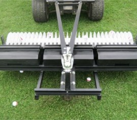 A-frame golf ball picker with plastic baskets