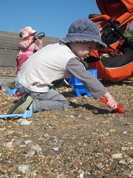 Charlie's diggin' the beach