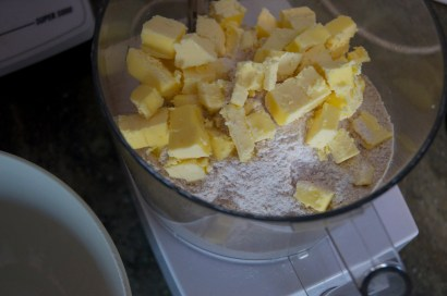 Use chilled, cubed butter when making the pie dough. I misplaced my pastry cutter, so my food processor stood in nicely.