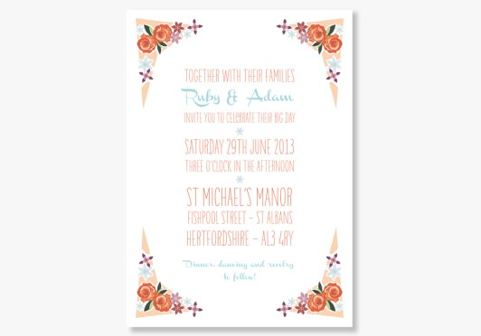 Peachy Keen Wedding Stationery for Retro Weddings