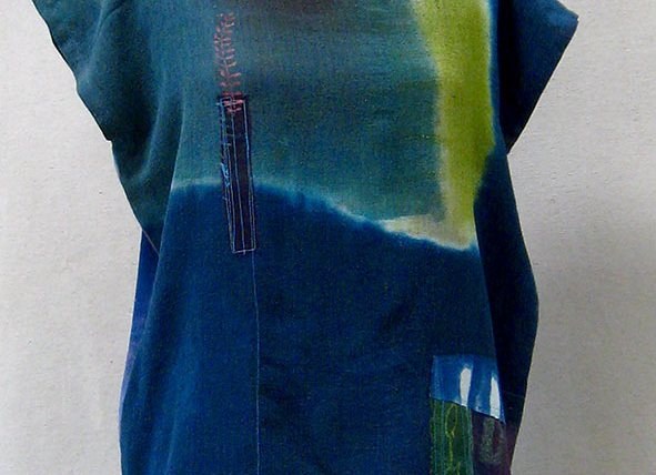 Cecille Teal Silk Gauze Colorblock Top