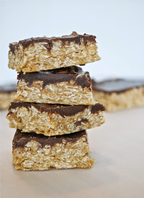 Clean Eating Chocolate Peanut Butter Oatmeal  Squares