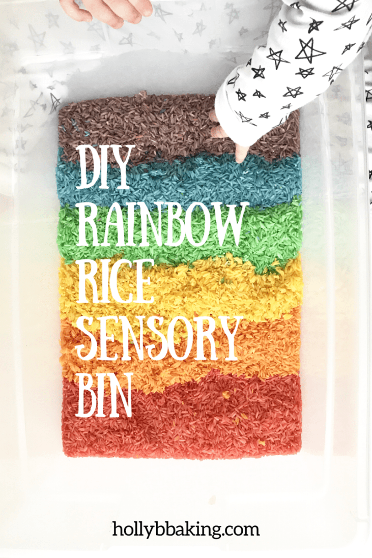 DIY Rainbow Sensory Rice Bin